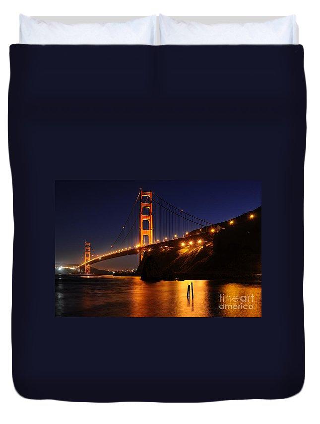 Golden Gate Bridge Duvet Cover featuring the photograph Golden Gate Bridge 1 by Vivian Christopher