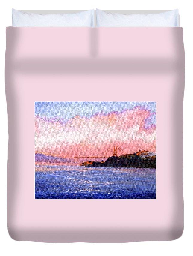 Landscape Duvet Cover featuring the painting Golden Gate Bridge by Frank Wilson