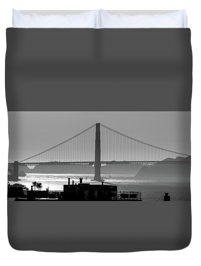 Golden Duvet Cover featuring the photograph Golden Gate Bridge In Its Beauty At Sunset by Alex Grichenko
