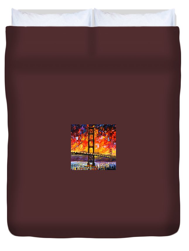 City Duvet Cover featuring the painting Golden Gate Bridge by Leonid Afremov