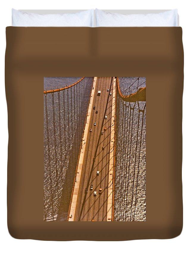Golden Duvet Cover featuring the photograph Golden Gate Bridge by Thomas Marchessault