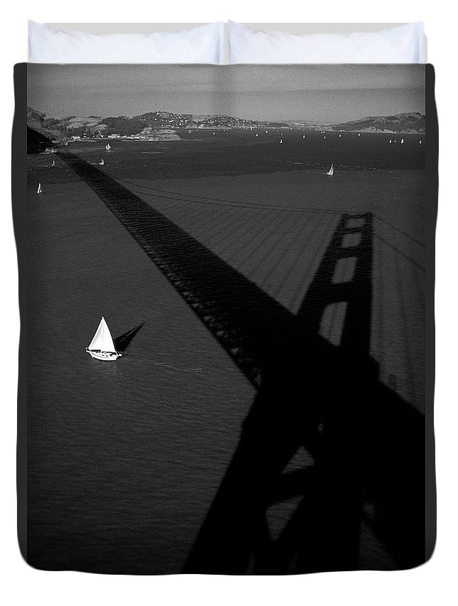 Travel Destinations Duvet Cover featuring the photograph Golden Gate Bridge With Sailboats  by Jim Corwin