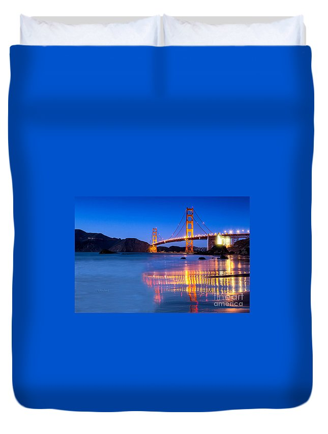 Golden Gate Duvet Cover featuring the mixed media Golden Gate Dreams by Garland Johnson