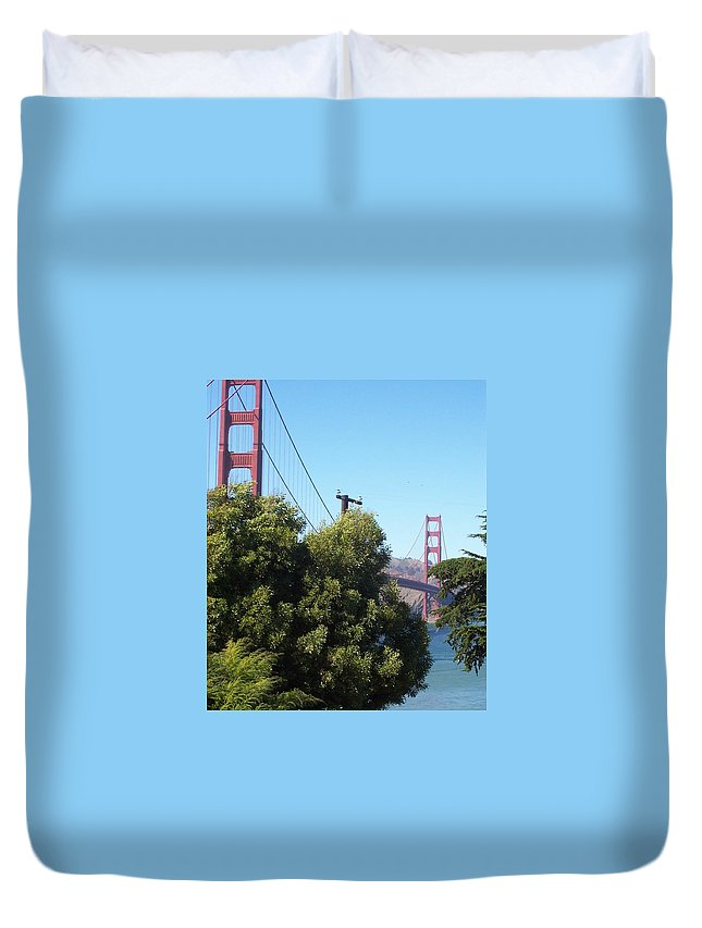 Golden Gate Bridge Duvet Cover featuring the photograph Golden Gate by Elizabeth Klecker
