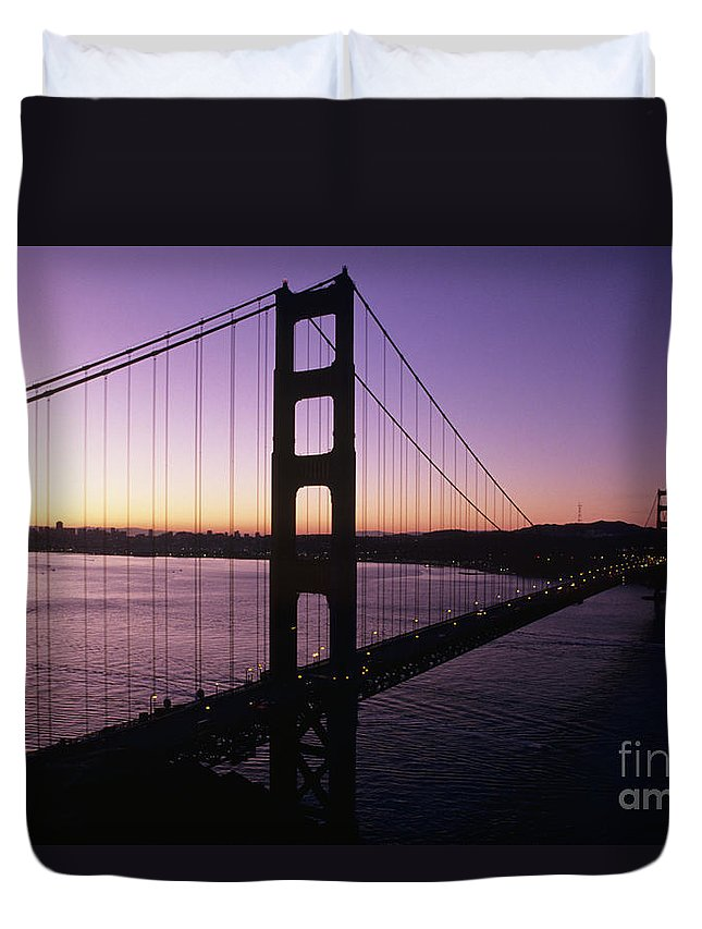 Across Duvet Cover featuring the photograph Golden Gate by Larry Dale Gordon - Printscapes