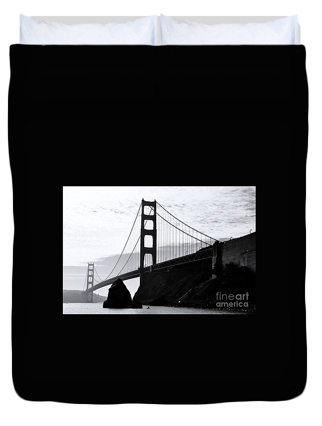 Golden Gate Bridge Duvet Cover featuring the painting Golden Gate by Rod Jellison