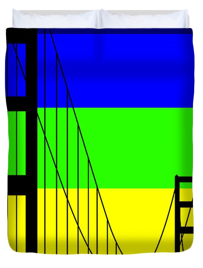 Golden Gate Duvet Cover featuring the digital art Golden Gay by Asbjorn Lonvig