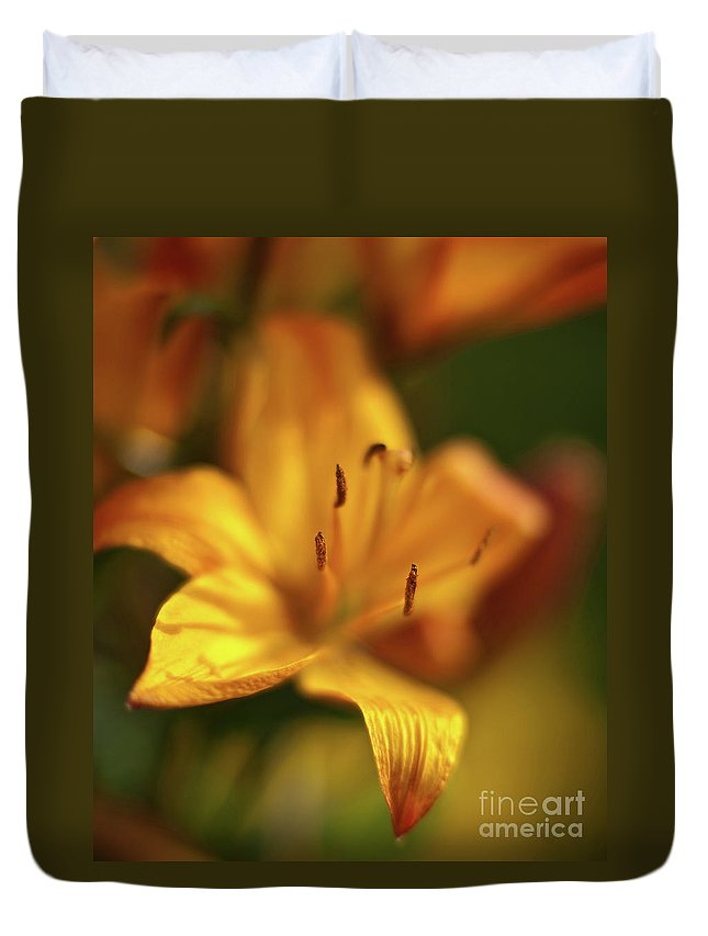 Lilly Duvet Cover featuring the photograph Golden Gazer by Mike Reid