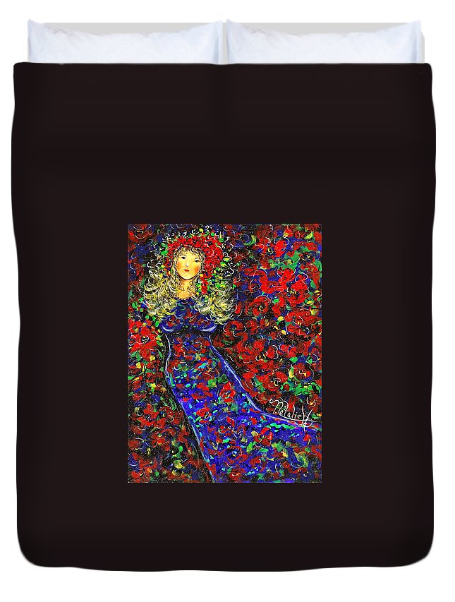Woman Duvet Cover featuring the painting Golden Girl by Natalie Holland