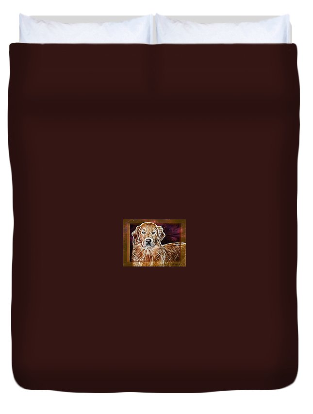 Dog Duvet Cover featuring the photograph Golden Glowing Retriever by Ericamaxine Price