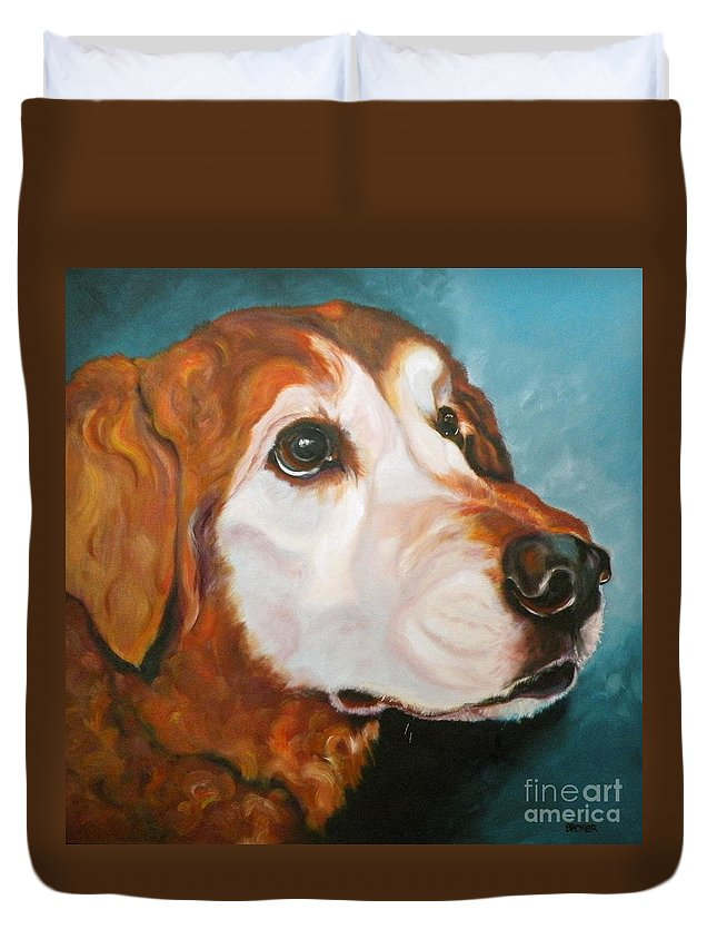 Dogs Duvet Cover featuring the painting Golden Grandpa by Susan A Becker