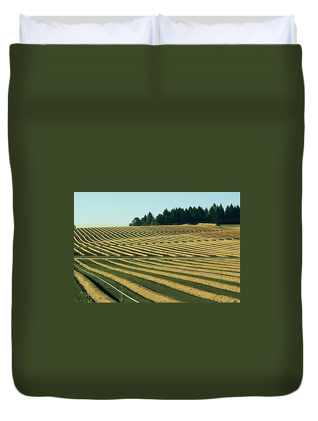 Plow Duvet Cover featuring the photograph Golden Green by Sara Stevenson