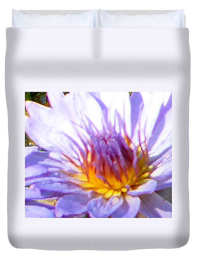 Water Lily Duvet Cover featuring the photograph Golden Heart by John Lautermilch