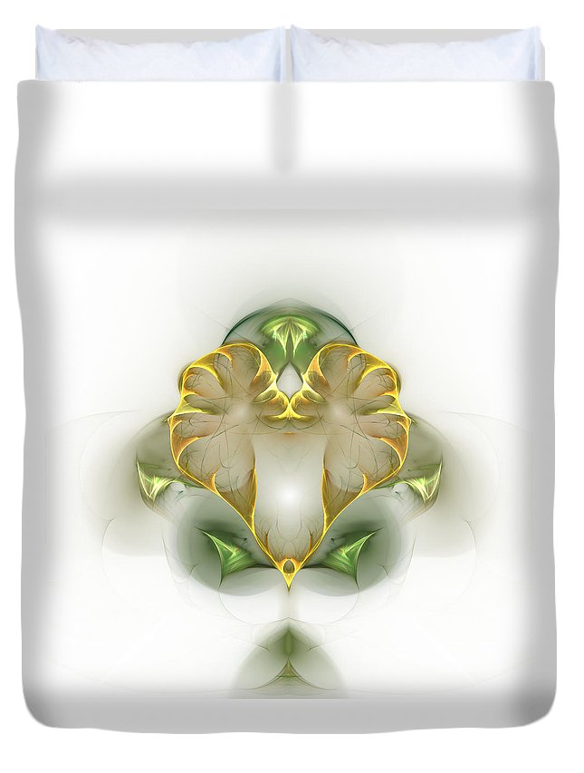 Fractal Duvet Cover featuring the digital art Golden Heart by Richard Ortolano
