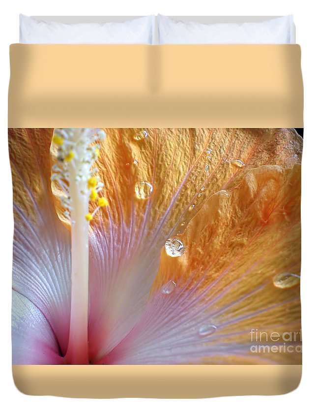Photography Duvet Cover featuring the photograph Golden Hibiscus by Kaye Menner
