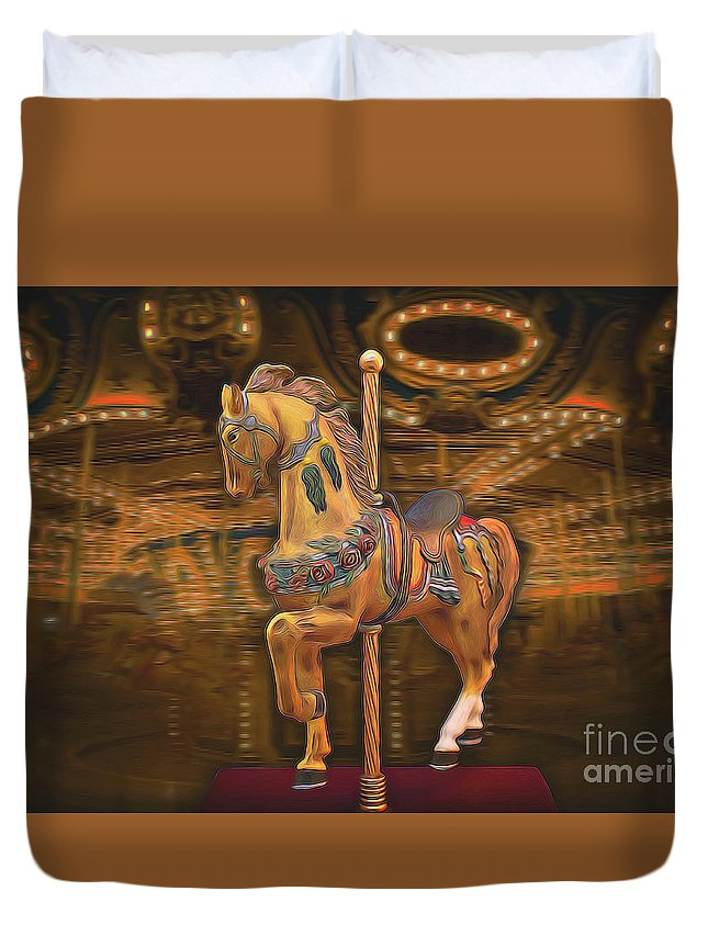 Horse Duvet Cover featuring the mixed media Golden Horse by Garland Johnson
