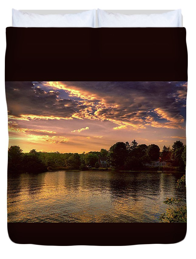 Summer Duvet Cover featuring the digital art Golden Hour In New England by Lilia D