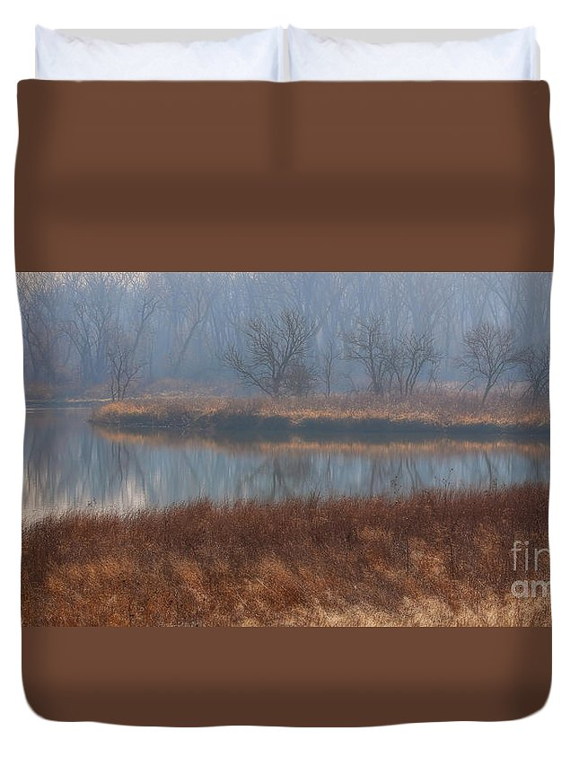 Reflections Duvet Cover featuring the photograph Golden In The Morning by Elizabeth Winter