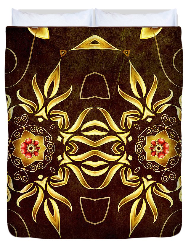 Abstract Duvet Cover featuring the digital art Golden Infinity by Georgiana Romanovna