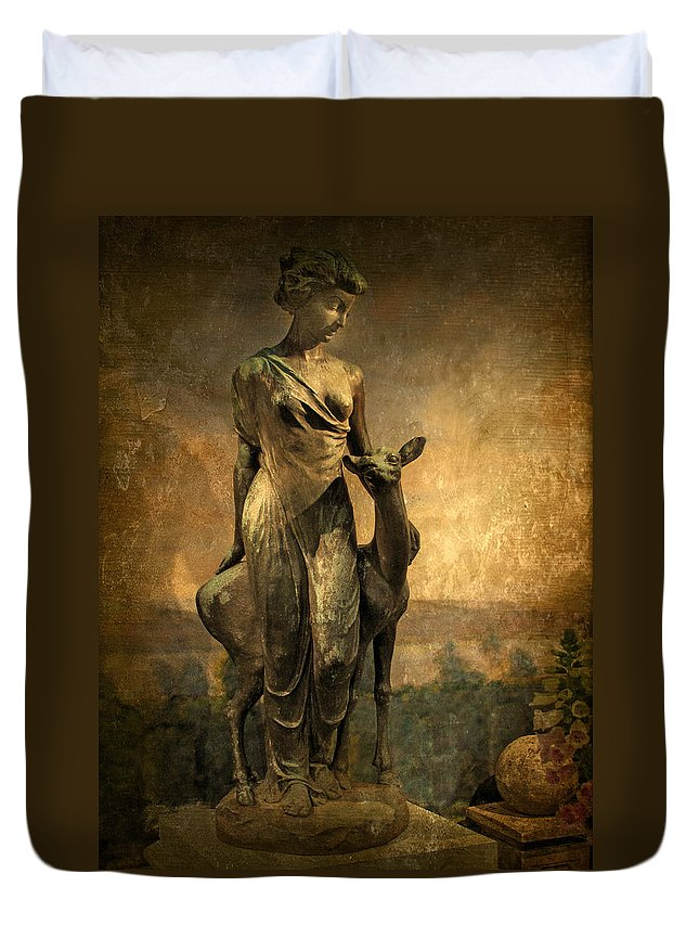 Statue Duvet Cover featuring the photograph Golden Lady by Jessica Jenney
