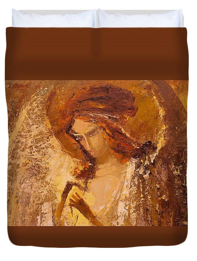 Angel Duvet Cover featuring the painting Golden Light Of Angel. Fragment by Valentina Kondrashova