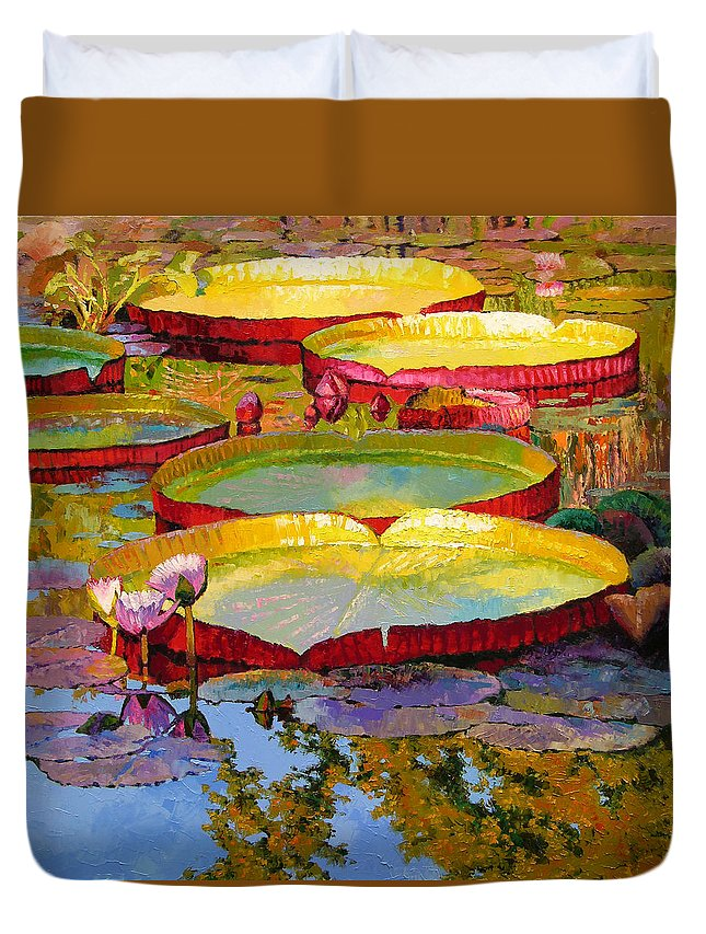 Sunlight Duvet Cover featuring the painting Golden Light On Pond by John Lautermilch