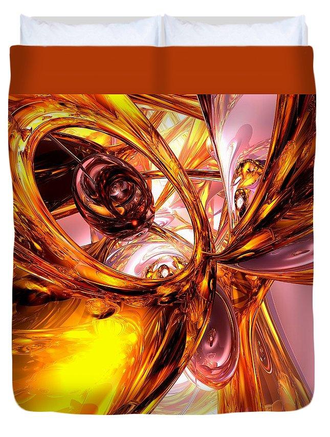 3d Duvet Cover featuring the digital art Golden Maelstrom Abstract by Alexander Butler