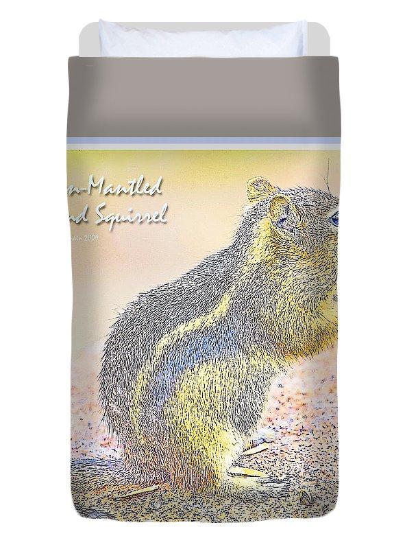 Animal Duvet Cover featuring the digital art Golden-mantled Ground Squirrel, Digital Art by A Gurmankin