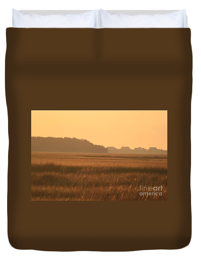 Marsh Duvet Cover featuring the photograph Golden Marshes by Nadine Rippelmeyer