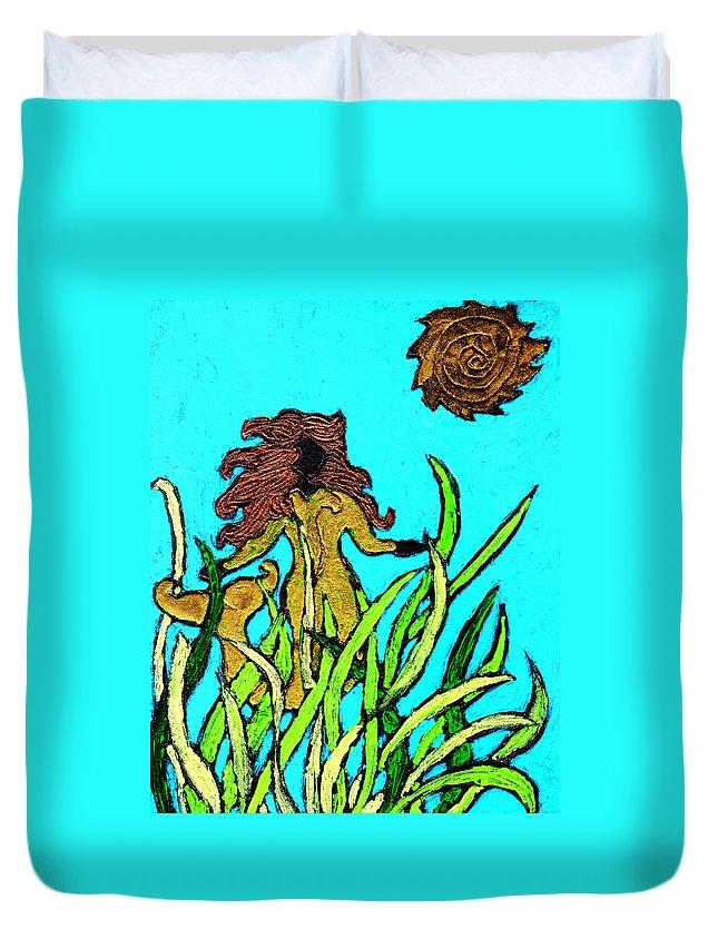 Mermaid Duvet Cover featuring the painting Golden Mermaid by Wayne Potrafka