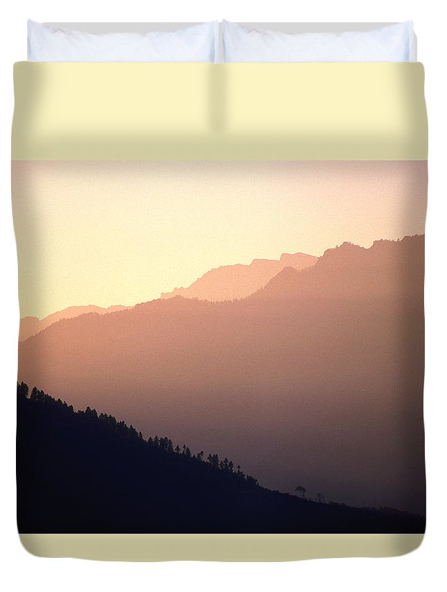 Langtang Duvet Cover featuring the photograph Golden Mountains by Patrick Klauss