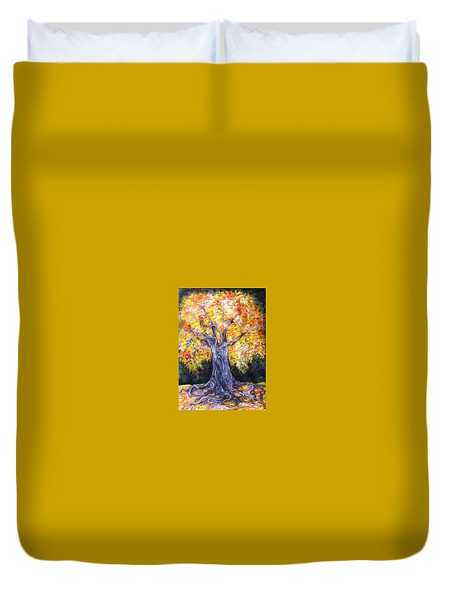 Landscape Duvet Cover featuring the drawing Golden Oak by Anna Duyunova