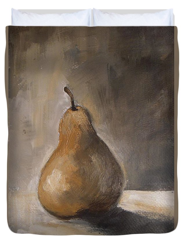 Abstract Duvet Cover featuring the painting Golden Pear by Vesna Antic