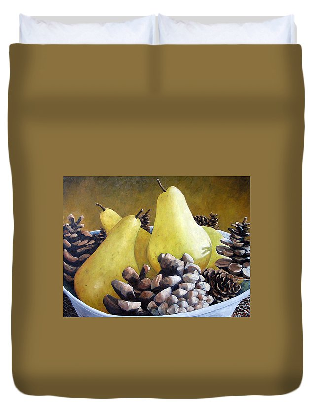 Canadian Duvet Cover featuring the painting Golden Pears And Pine Cones by Richard T Pranke