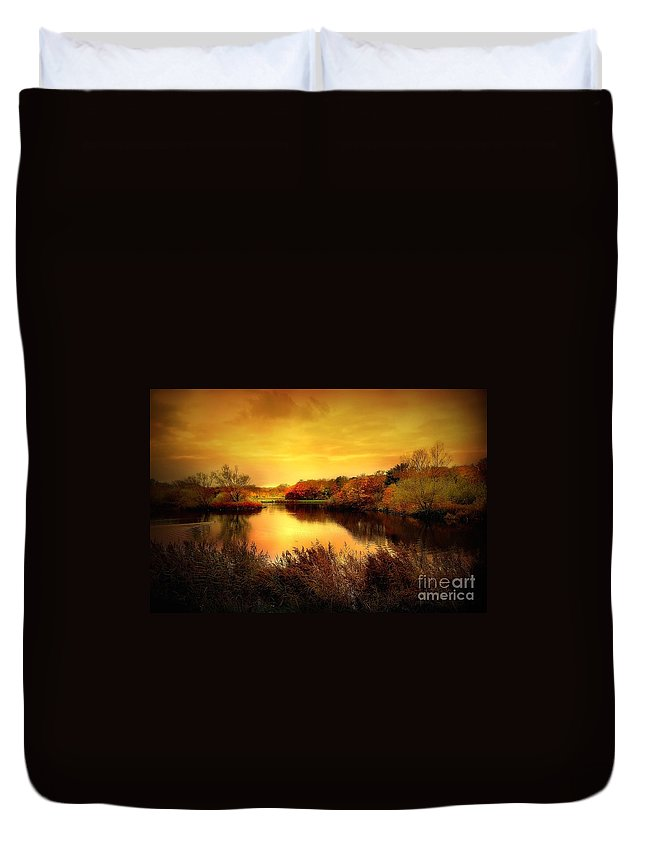 Pond Duvet Cover featuring the photograph Golden Pond by Jacky Gerritsen