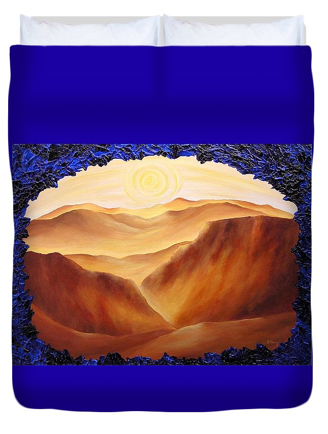 Original Duvet Cover featuring the painting Golden Possibilities by Melissa Joyfully
