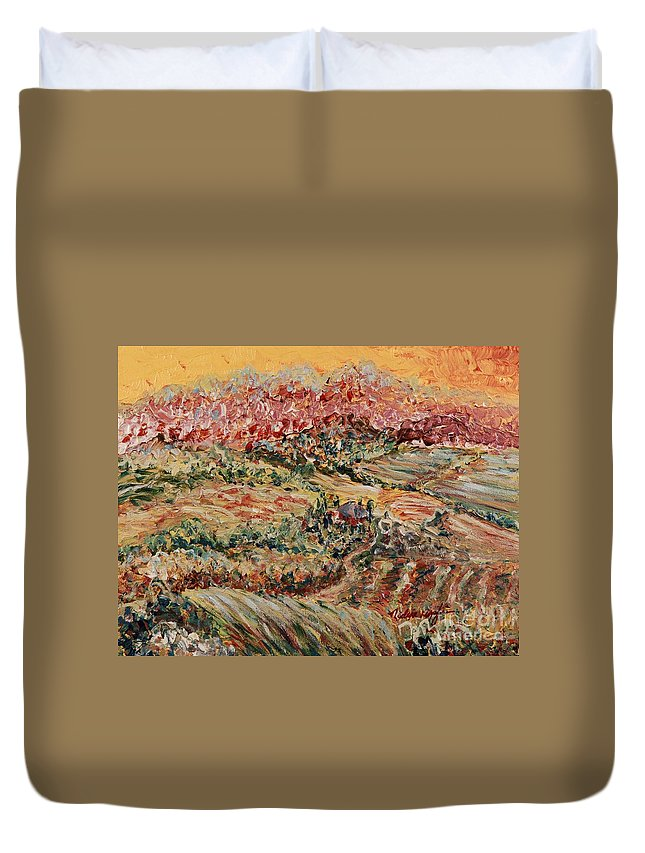 Provence Duvet Cover featuring the painting Golden Provence by Nadine Rippelmeyer