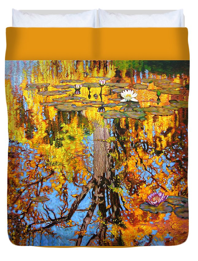Landscape Duvet Cover featuring the painting Golden Reflections On Lily Pond by John Lautermilch