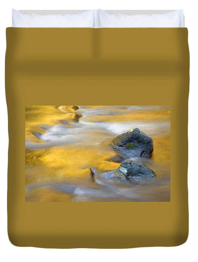 Leaves Duvet Cover featuring the photograph Golden Refuge by Mike Dawson