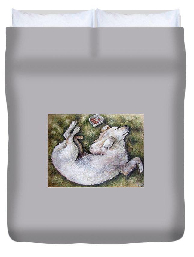 Dog Duvet Cover featuring the pastel Golden Retriever Puppy by Nicole Zeug