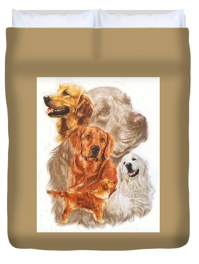 Retriever Duvet Cover featuring the mixed media Golden Retriever W/ghost by Barbara Keith