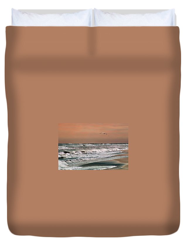 Seascape Duvet Cover featuring the photograph Golden Shore by Steve Karol
