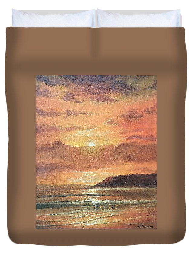 Sunset Duvet Cover featuring the painting Golden Shoreline by Frank Strasser