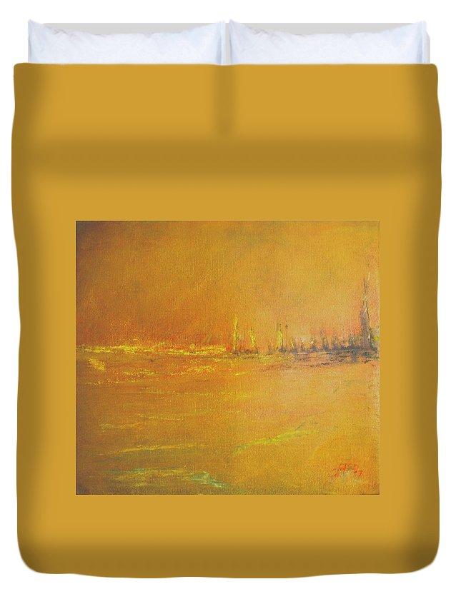 Ships Duvet Cover featuring the painting Golden Sky by Jack Diamond