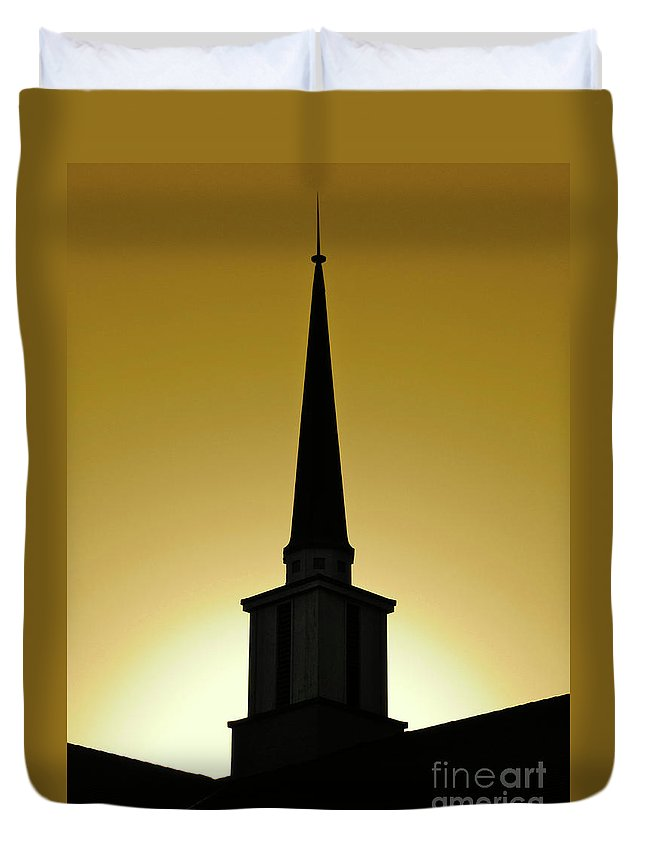Cml Brown Duvet Cover featuring the photograph Golden Sky Steeple by CML Brown