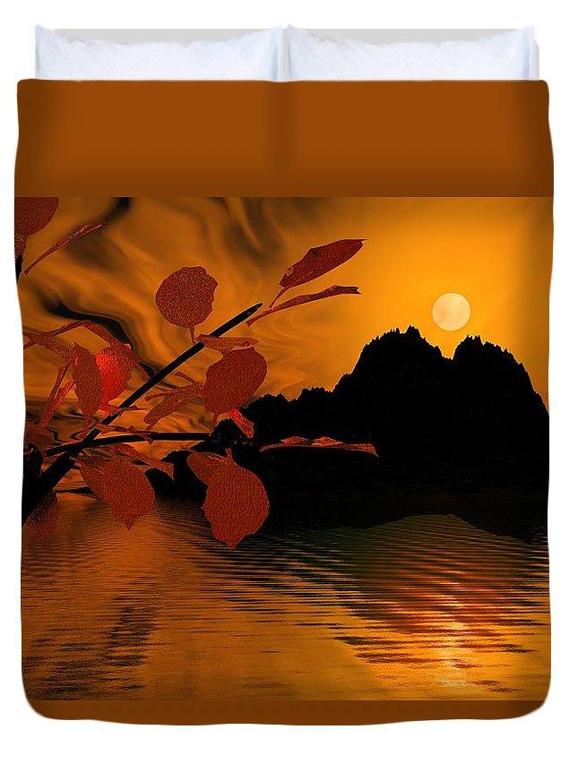 Landscape Duvet Cover featuring the digital art Golden Slumber Fills My Dreams. by David Lane