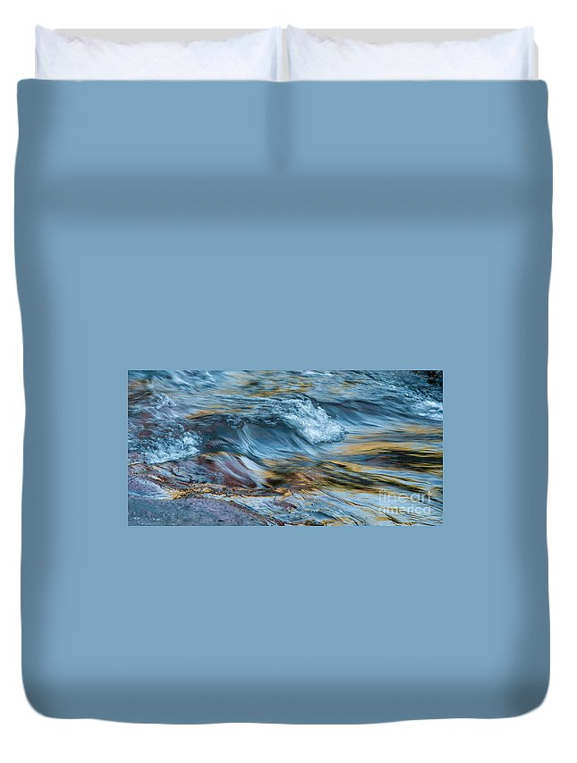 Rivers Duvet Cover featuring the photograph Golden Strands Of Water by Sandra Bronstein