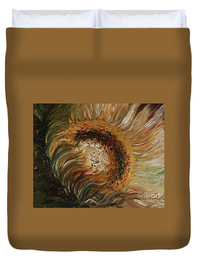 Sunflower Duvet Cover featuring the painting Golden Sunflower by Nadine Rippelmeyer