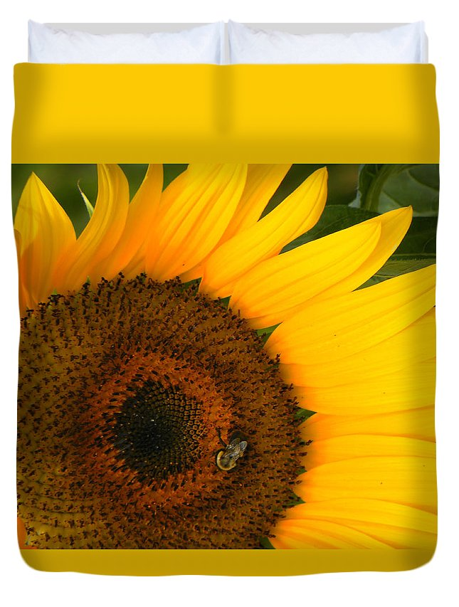Sunflower Duvet Cover featuring the photograph Golden Sunflower by Rosalie Scanlon