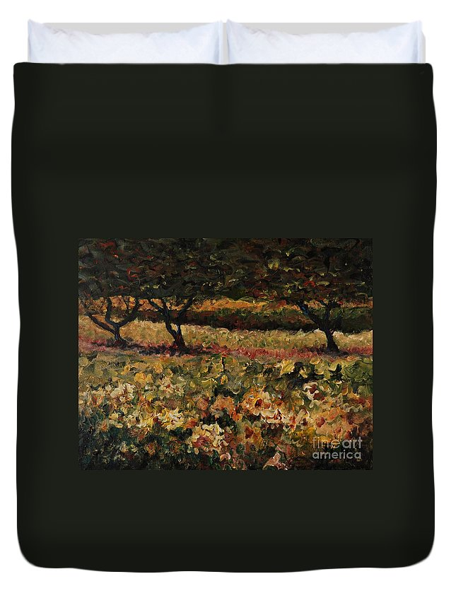 Landscape Duvet Cover featuring the painting Golden Sunflowers by Nadine Rippelmeyer